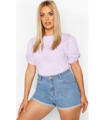 plus ruched knot puff sleeve t-shirt, lilac