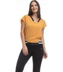 blusa clara arruda barra ribana 20428 - feminino