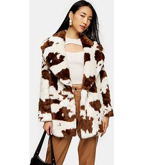 cow print faux fur coat - multi