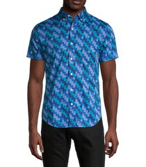 slim-fit riviera linear geo block shirt