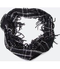 beatrix fringe infinity scarf - black/white