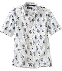 batik print short-sleeved shirt