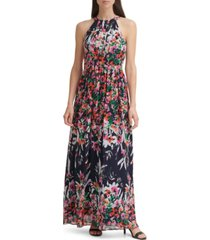 eliza j printed halter maxi dress