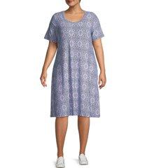 premise women's plus printed t-shirt dress - blue pink - size 1x (14-16)