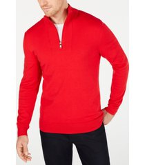 alfani men's quarter-zip ribbed placket sweater, created for macy's