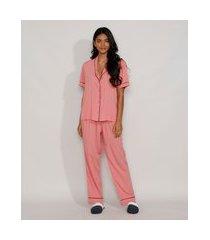 pijama feminino camisa com vivo contrastante manga curta rosa