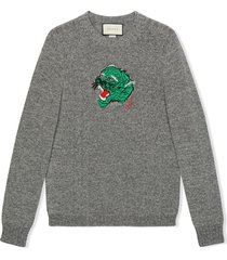 gucci panther face knitted jumper - grey