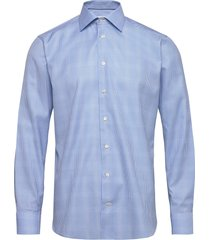 blue gingham cotton-tencel shirt overhemd business blauw eton