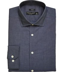 pronto uomo men's modern fit dress shirt dark blue chambray - size: 17 36/37 - only available at men's wearhouse
