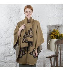 trinity knot celtic shawl and scarf set beige