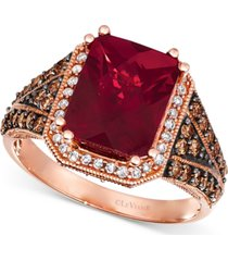 le vian raspberry rhodolite (3-7/8 ct. t.w.) & diamond (5/8 ct. t.w.) statement ring ring in 14k rose gold