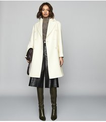 reiss alba - wool blend double breasted coat in white, womens, size xl