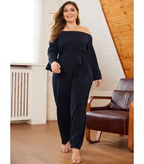 yoins plus tamaño navy tie-up diseño off the shoulder mono