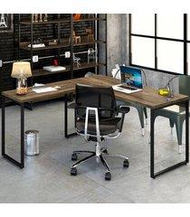 mesa para escritório angular kuadra carvalho dark - compace