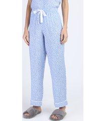 calça de pijama feminina reta estampada de poá com cordão azul claro