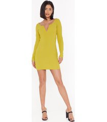womens i want to break v ribbed mini dress - chartreuse