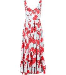 splatter floral sleeveless tiered dress