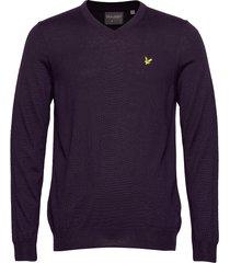 golf v neck pullover stickad tröja v-krage lila lyle & scott sport