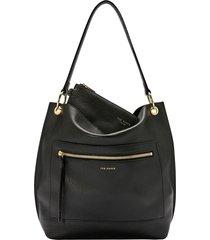 ted baker london cafrin zip detail leather hobo bag - black
