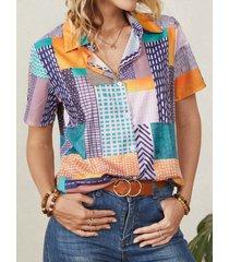 camicetta casual da donna manica corta con bottoni a risvolto stampa geometrica
