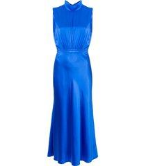 saloni turtleneck silk dress - blue