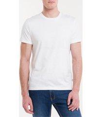 camiseta masculina básica logo bordado liquid cotton branca calvin klein - p