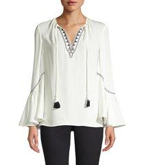 kobi halperin women's solana embroidered tassel blouse - black - size xs
