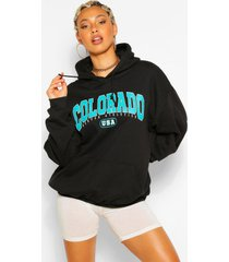extreem oversized colorado hoodie met tekst, zwart
