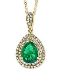 "effy emerald (1-1/3 ct. t.w.) & diamond (1/4 ct. t.w.) 18"" pendant necklace in 14k gold"
