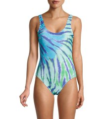 tommy hilfiger women's classic swirl-print tank one-piece swimsuit - green - size xs