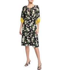 kobi halperin women's briley lily knee-length dress - black multi - size s
