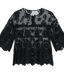 blusa de manga 3/4 em tule bordado  intimissimi tule preto