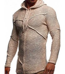 curved hem cross pullover heathered hooded sweater