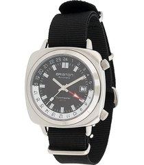 briston watches clubmaster gmt traveller steel watch - black