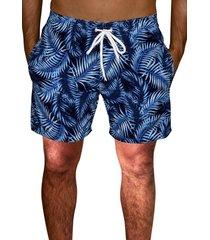 shorts praia  estampado microfibra com elastano bolsos laterais  azul ks