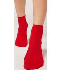 calzedonia extra short flat-knit bandless cotton socks woman red size tu