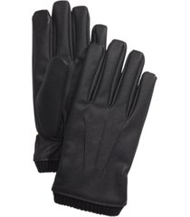 calvin klein men's faux-leather gloves