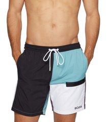 boss men's color-blocked swim shorts