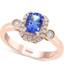 effy tanzanite (3/4 ct. t.w.) and diamond (1/4 ct. t.w.) ring in 14k rose gold