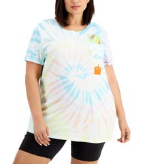 mighty fine trendy plus size up pocket tie-dyed t-shirt
