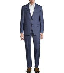 hickey freeman men's milburn iim check wool suit - blue - size 40 r