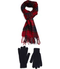 men's barbour tartan wool scarf & gloves set, size one size - red