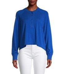 360 cashmere women's lennox henley sweater - azure - size l