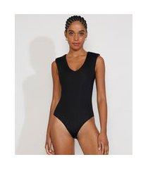 body muscle tee feminino com ombreiras sem manga decote v preto