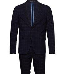 checked suit pak blauw lindbergh