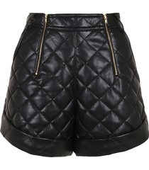 self-portrait belted faux leather quilted shorts