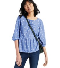 style & co petite floral-print top, created for macy's