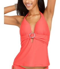bar iii ring banded halter tankini top, created for macy's women's swimsuit