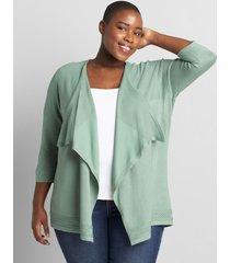 lane bryant women's 3/4-sleeve draped-front cardigan 18/20 lush palm