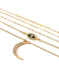 collar 5 cadenas dorado